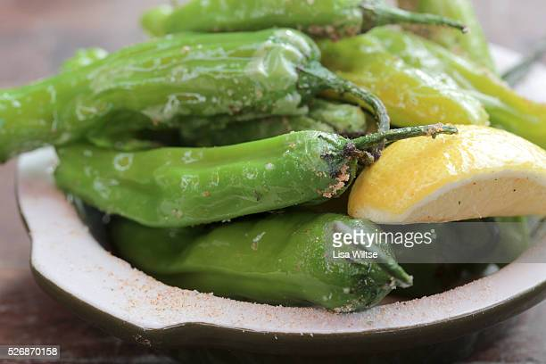 Blistered shishito peppers with San Marzano tomato salt and lemon at Locali Pizza Bar and Kitchen in New Canaan Connecticut Photo by Lisa Wiltse