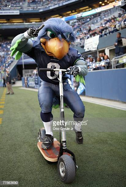 Blitz mascot of the Seattle Seahawks on the sidelines during the game against the New Orleans Saints at Qwest Field on October 14 2007 in Seattle...