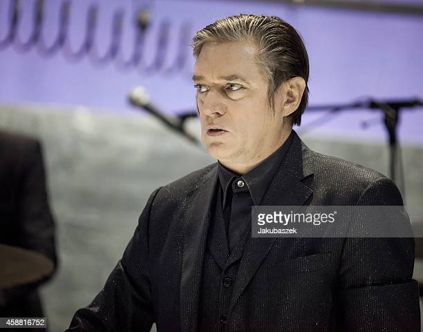 Blixa Bargeld of the German band Einstuerzende Neubauten performs live during a concert at the Tempodrom on November 11 2014 in Berlin Germany