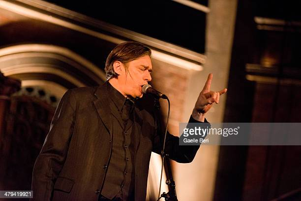 Blixa Bargeld performs on stage at the Union Chapel on March 18 2014 in London United Kingdom