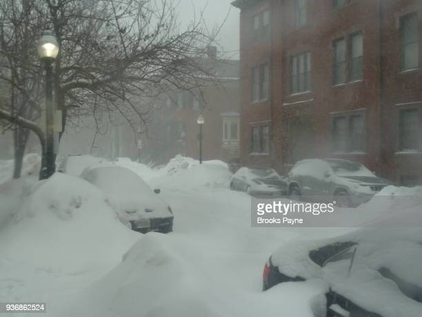Blizzard buries parked cars