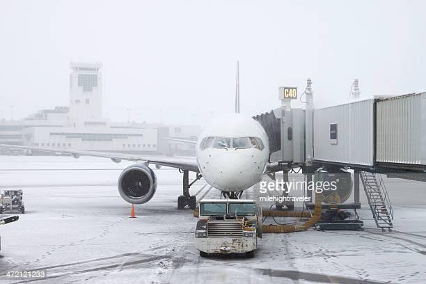Blizzard conditions Denver International Airport Colorado