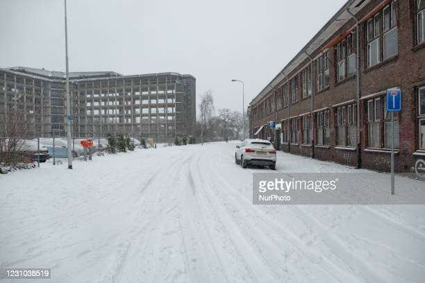 Blizzard from the snowstorm Darcy in the Netherlands, the first heavy snowfall with intense strong winds after 2010 disrupting transport all over the...