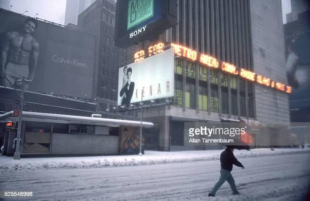 Blizzard in Times Square Marky Mark in Calvin Klein underwear billboard New York New York March 13 1993
