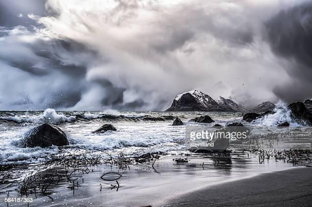 Blizzard, Myrland, Lofoten Islands, Norway