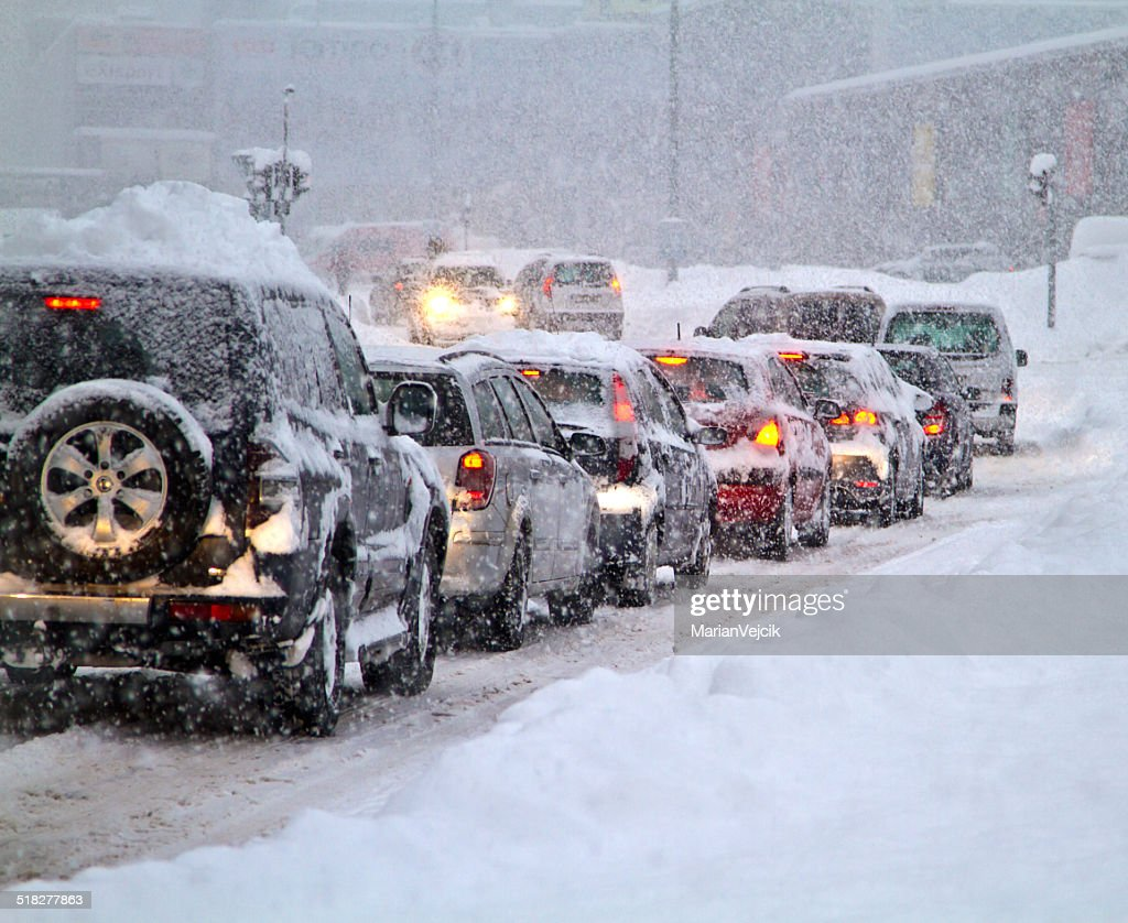 Blizzard on the road. : Stock Photo