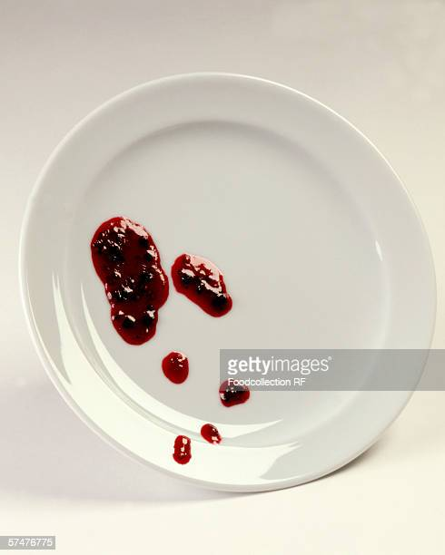 Blobs of jam on a plate