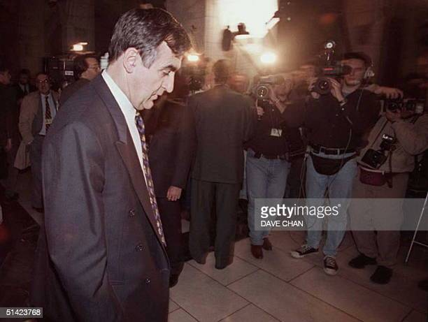 Bloc Quebecois leader Lucien Bouchard arrives on Parliament Hill in Ottawa 31 October, the day after a small majority in the mainly French-speaking...