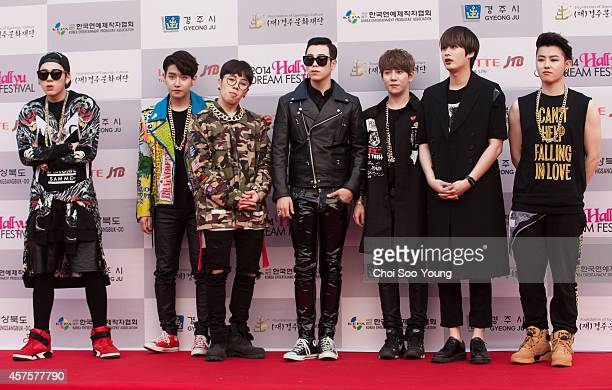 Block B pose for photographs during the 2014 Hallyu Dream Concert at Gyeongju Citizen Stadium on September 28 2014 in Seoul South Korea