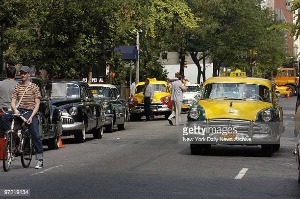 """Block is made to look like a scene from the 1950s, including a Checker cab, for the filming of the movie """"Fur"""" on E. 54th St. The film, starring..."""