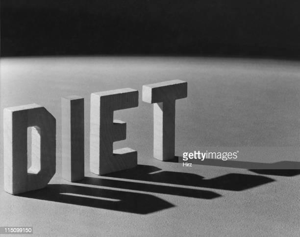 Block lettering spelling diet.