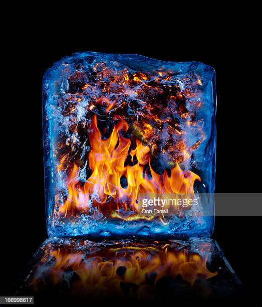 Block of ice with fire inside