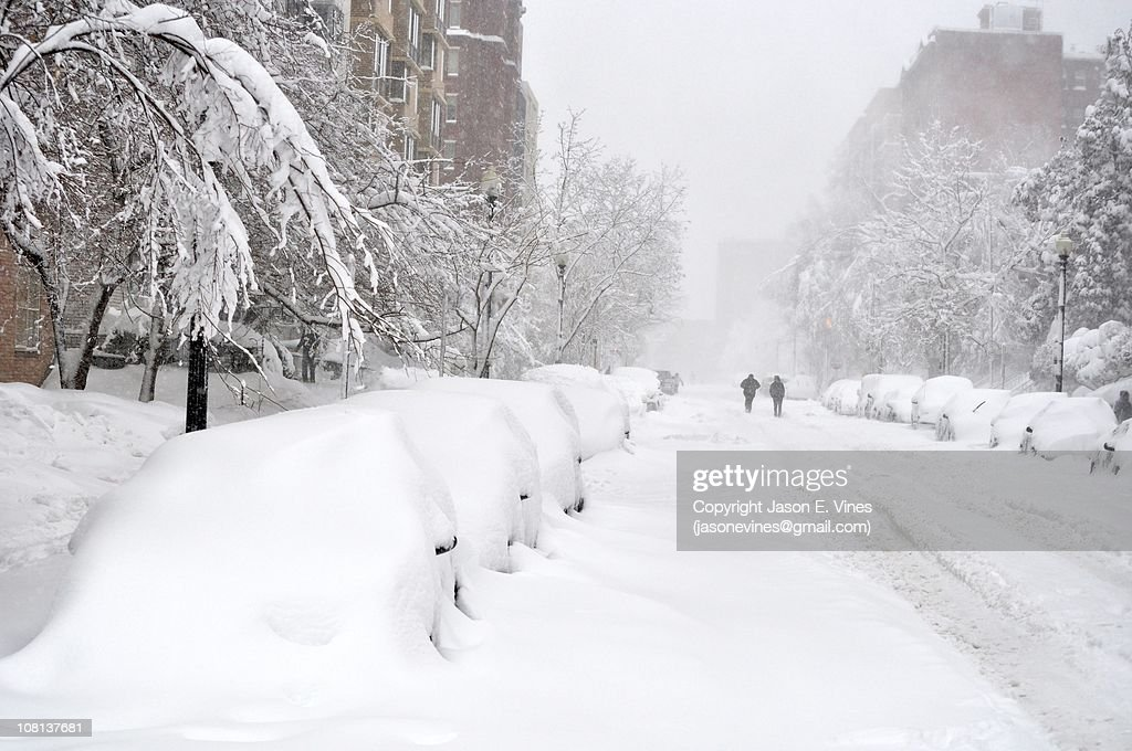 Block of snow-covered cars : Foto de stock