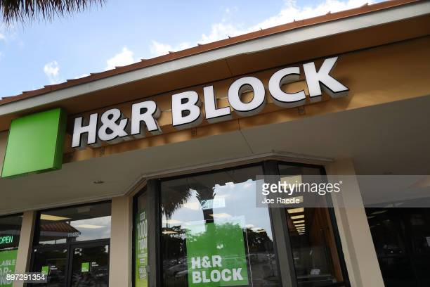 Block office is seen on the day President Donald Trump signed the Republican tax cut bill in Washington DC on December 22 2017 in Miami Florida Kathy...
