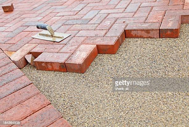 block paving under construction - paving stone stock pictures, royalty-free photos & images