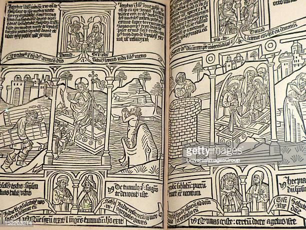 Blockbook Bible for the poor c 1465 Each page was printed from a single woodblock a method that was used for works in high demand