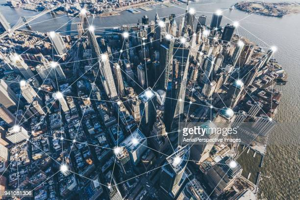 blockchain concept and city network of manhattan - big tech stock pictures, royalty-free photos & images