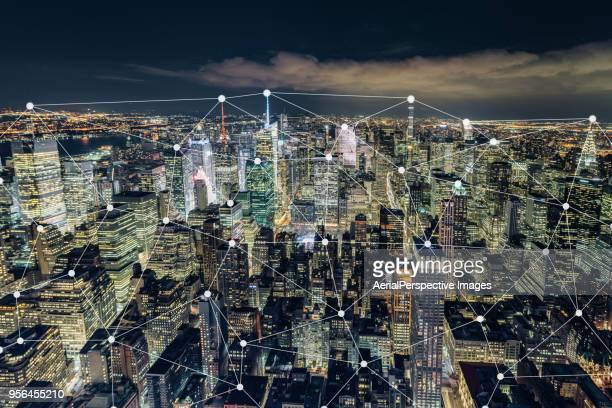 Blockchain Concept and Manhattan Skyline at Night
