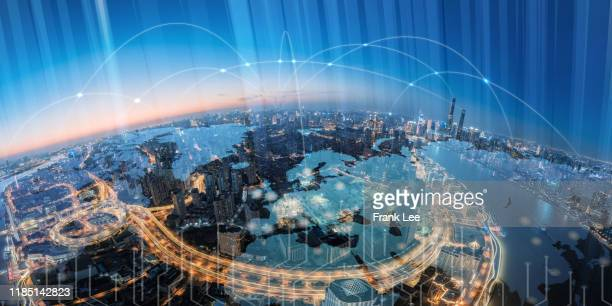 blockchain concept and shanghai skyline at night - global communications stock pictures, royalty-free photos & images
