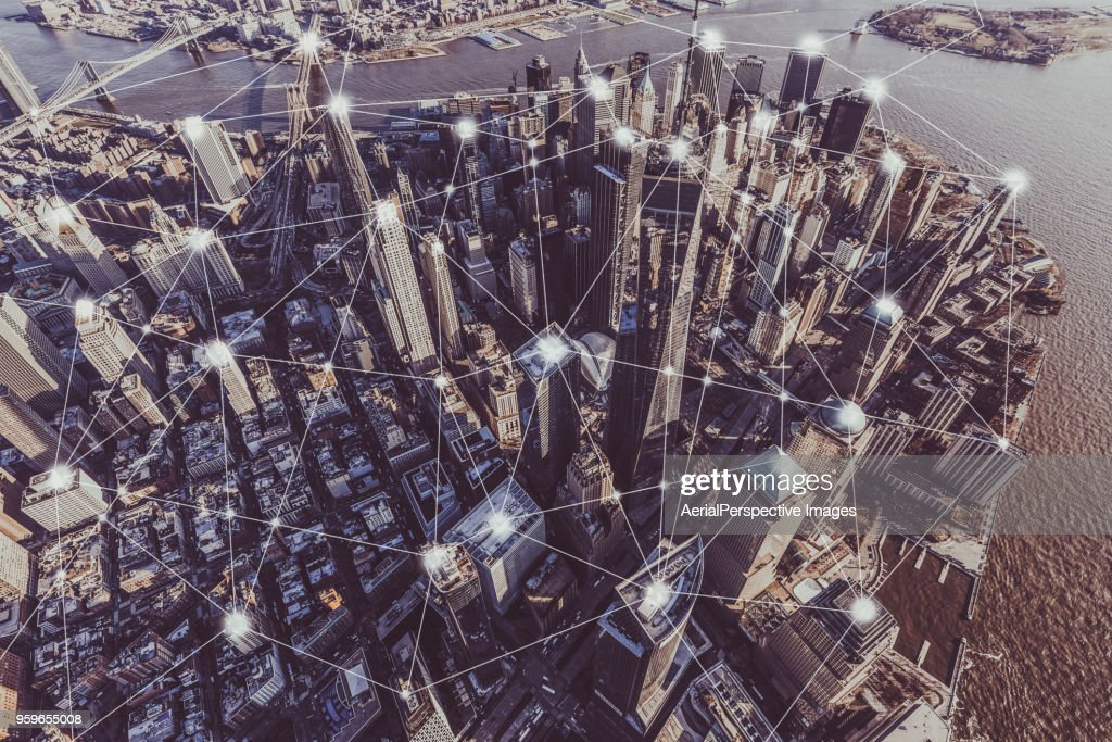 Blockchain Concept of Manhattan Skyline : Stock-Foto