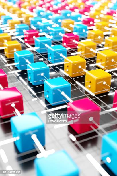 blockchain data processing concept - selective focus version - blockchain stock pictures, royalty-free photos & images