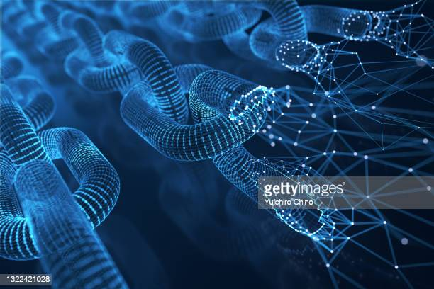 blockchain formed by binaries and network - blockchain stock pictures, royalty-free photos & images