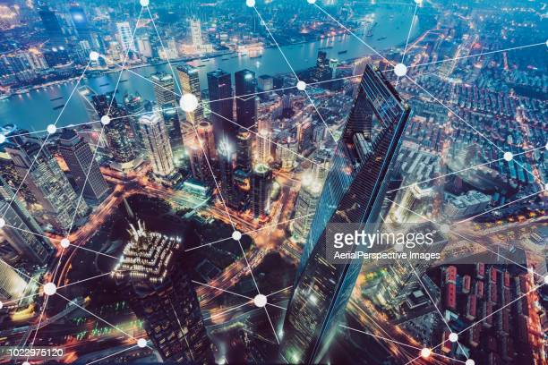 blockchain of prosperous city - blockchain stock pictures, royalty-free photos & images