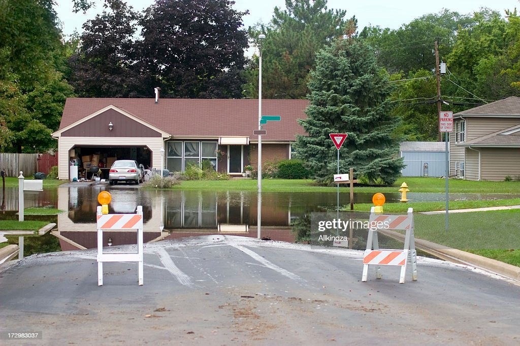 blocked flooded intersection : Stock Photo
