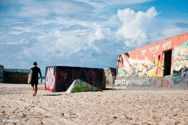 blockhaus/bunker on french beach, atlantic - aquitaine stock photos and pictures