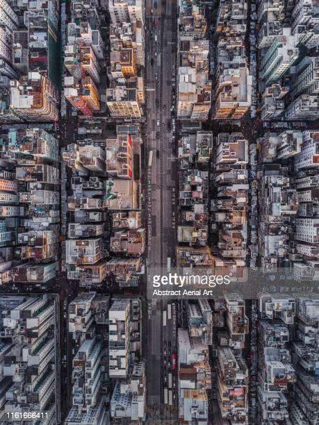 blocks of buildings from above, kowloon, hong kong - aerial view fotografías e imágenes de stock