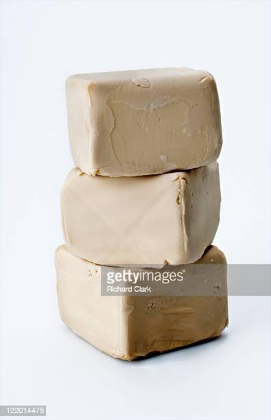 Blocks of fresh yeast