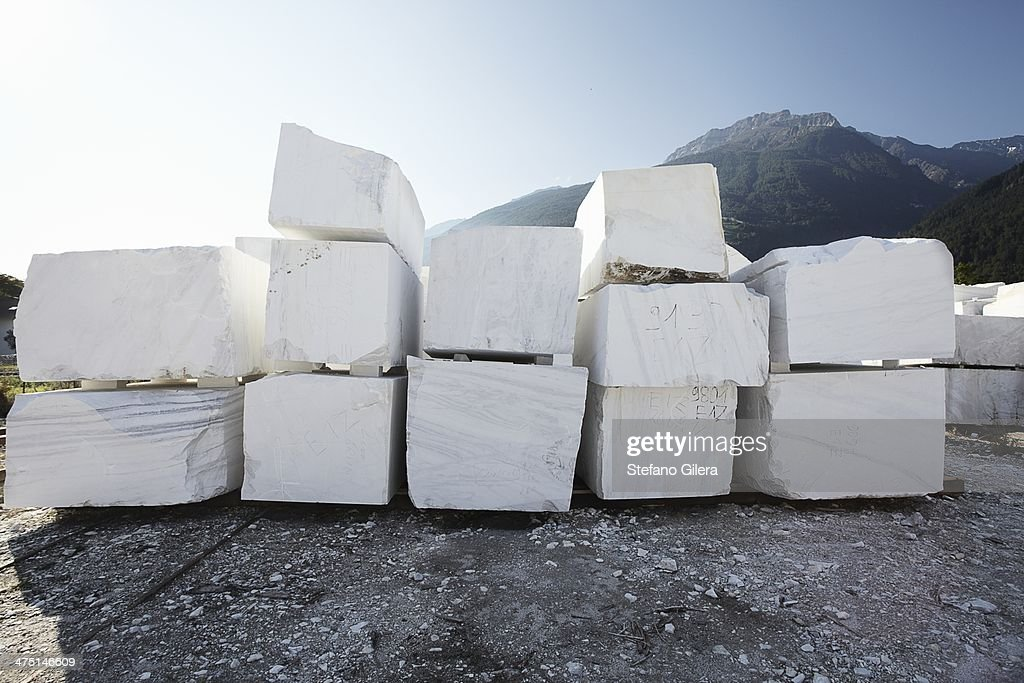 Blocks of marble from quarry : Stock Photo