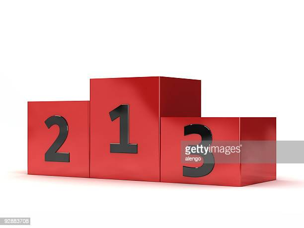 Blocks of red podium with numbers written on them