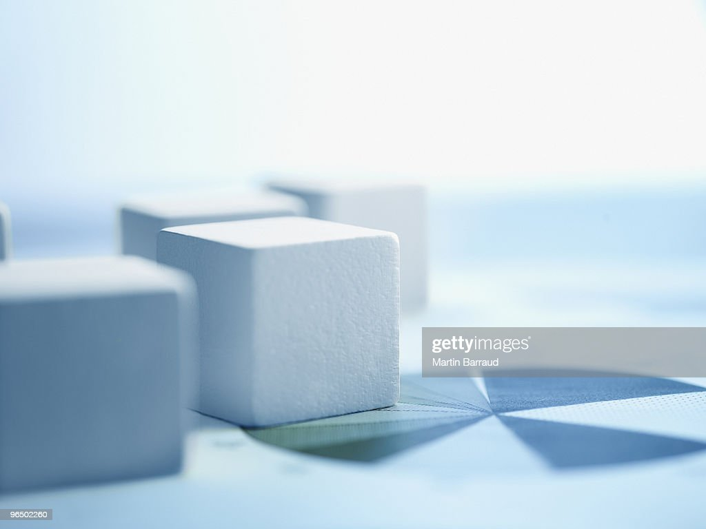 Blocks on paper charts : Stock Photo