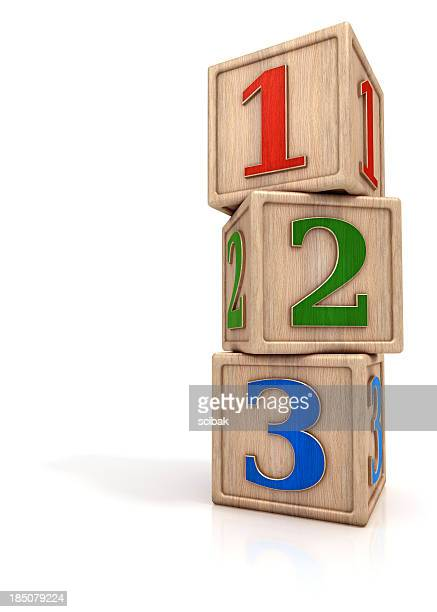 Blocks stack with numbers 1 2 3