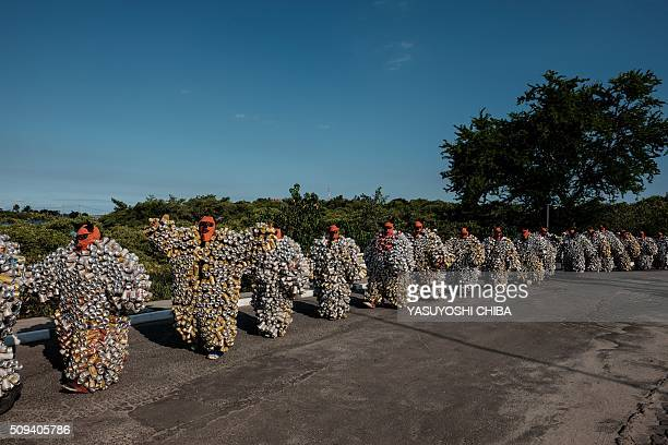 Bloco da Latinha a street carnival group during a parade on the last day of carnival in Madre de Deus Bahia State Brazil on February 9 2016 'Bloco da...