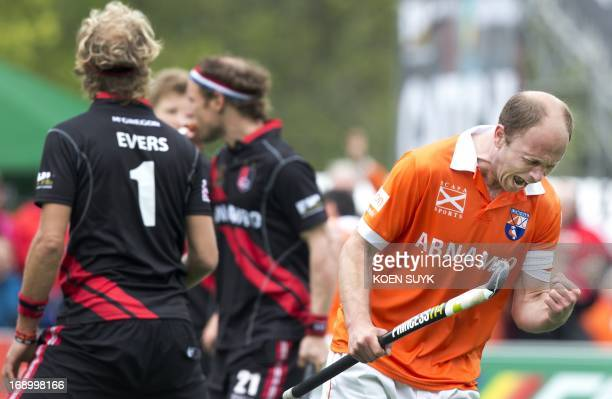 Bloemendaal's Teun de Nooijer reacts during the Euro Hockey League semifinal match against Amsterdam in Bloemendaal The Netherlands on May 18 2013