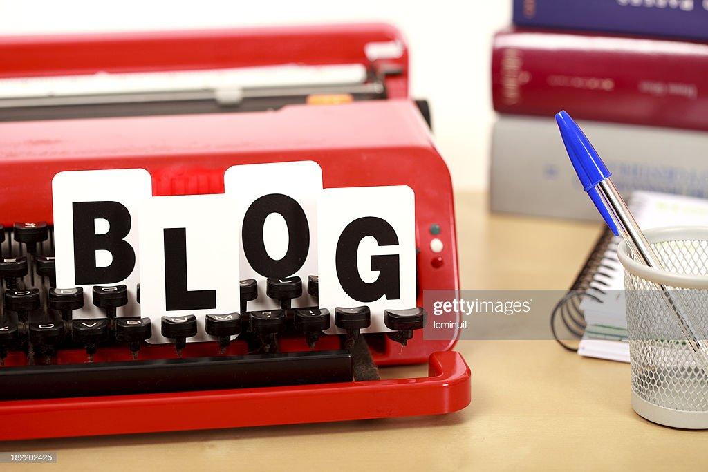 Blog and typewriter keyboard : Stock Photo