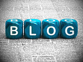 Blog or blogging website icon showing online journals and writing - 3d illustration