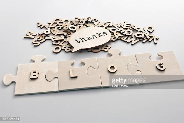 blog written with jigsaw puzzle pieces - thanks quotes stock pictures, royalty-free photos & images