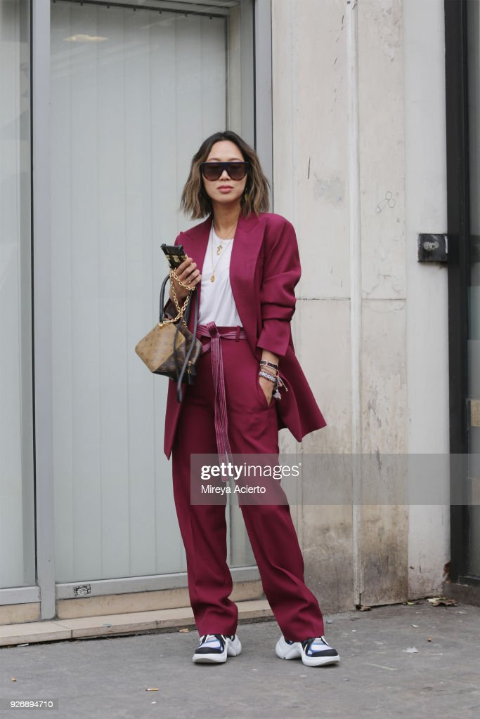 Blogger, Aimee Song, seen during Paris Fashion Week Womenswear Fall/Winter 2018/2019 on March 3, 2018 in Paris, France.