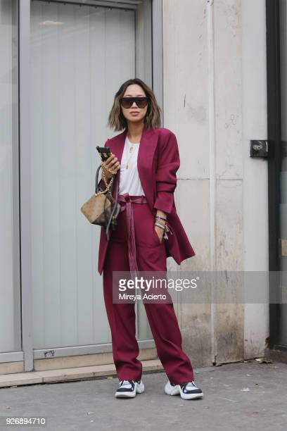Blogger Aimee Song seen during Paris Fashion Week Womenswear Fall/Winter 2018/2019 on March 3 2018 in Paris France
