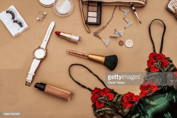 blogger and fashion concept. set of glamorous stylish woman accessories and lingerie - black slip photos et images de collection