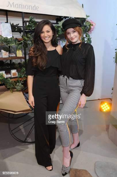Blogger and Mamonde Muse Caila Quinn and influencer Danielle Victoria Perry vist the The Mamonde Garden Pop Up at 393 Broadway on February 28 2018 in...
