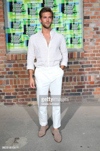 Blogger Andre Hamann attends the HUGO show during the Berlin Fashion Week Spring/Summer 2019 at Motorwerk on July 5 2018 in Berlin Germany