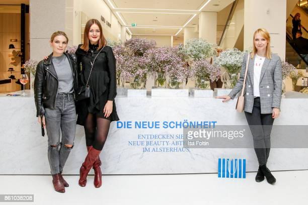 Blogger Anna Weilberg Lisa van Houtem and Katharina Charpian of Femtasticscom during the Alsterhaus Beauty Opening 'Die Neue Schönheit' on October 13...