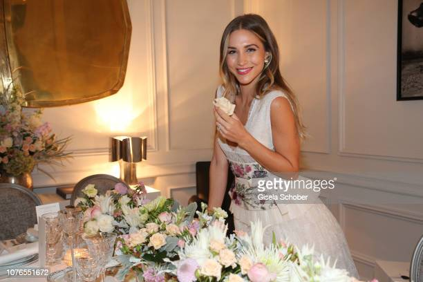 Blogger AnnKathrin Goetze wearing a dress by Dior during the private Maison Christian Dior Paris dinner on November 28 2018 in Paris France
