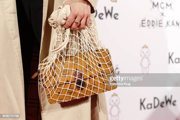 Blogger AnnKathrin Grebner bag detail during the MCM X Eddie Kang launch event at KaDeWe on March 6 2018 in Berlin Germany