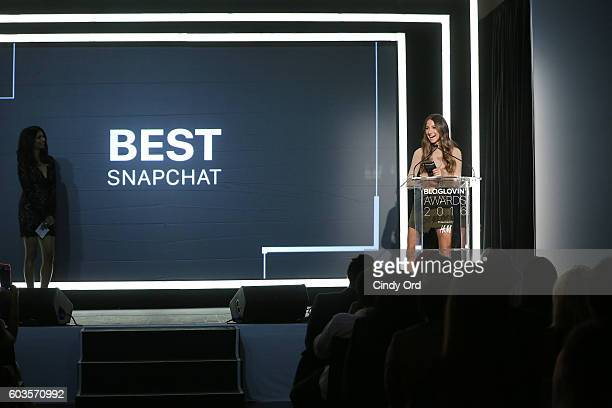Blogger Arielle Noa Charnas speaks on stage at the Blog Lovin' Awards at Industria Superstudio on September 12 2016 in New York City