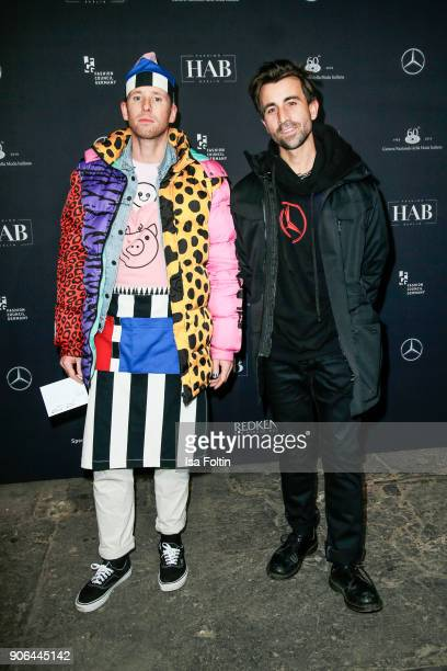 Blogger Benjamin Koch and David Roth of Dandy Diary during the Fashion HAB show presented by MercedesBenz at Halle am Berghain on January 17 2018 in...